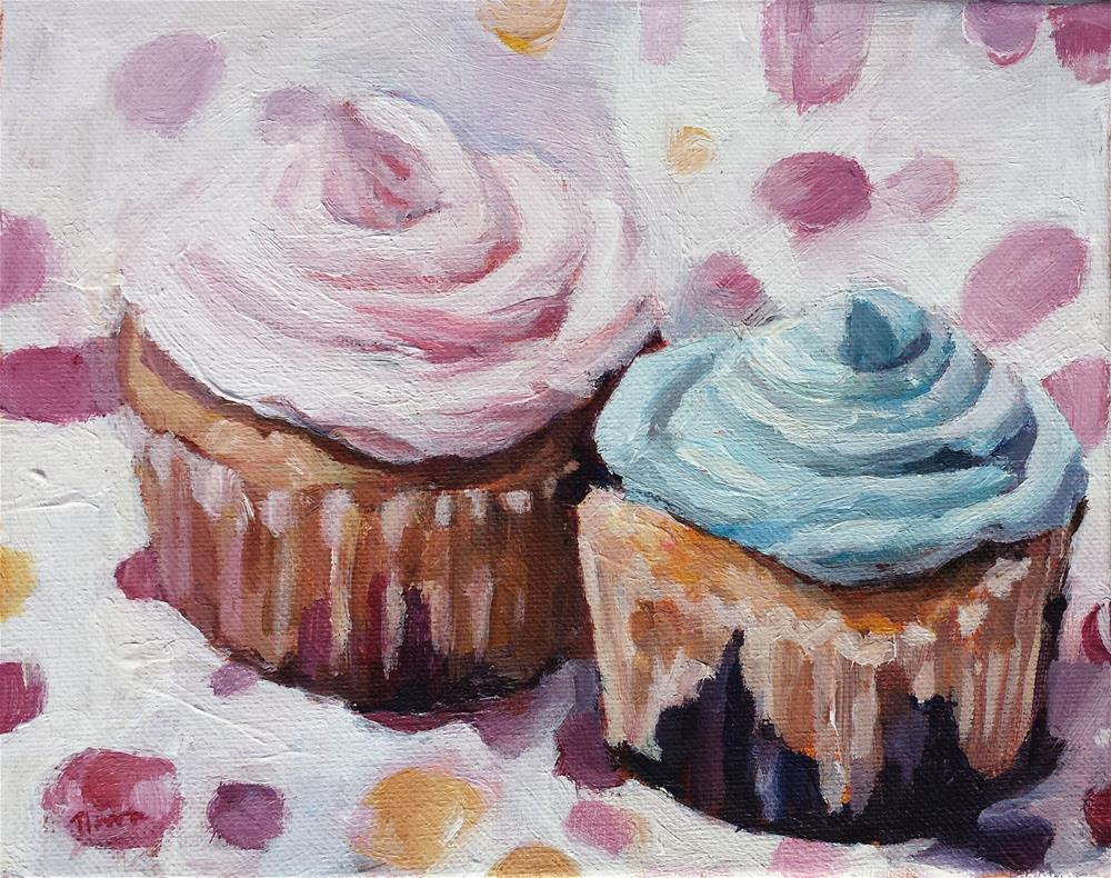"""Pink and Blue Cupcakes"" original fine art by Nava Judith"