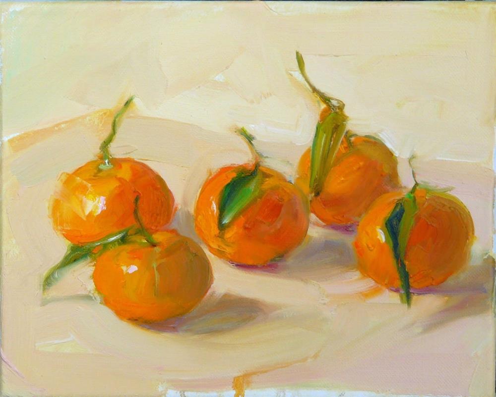 """""""More Mandarines,still life,oil on canvas,8x10,$375"""" original fine art by Joy Olney"""