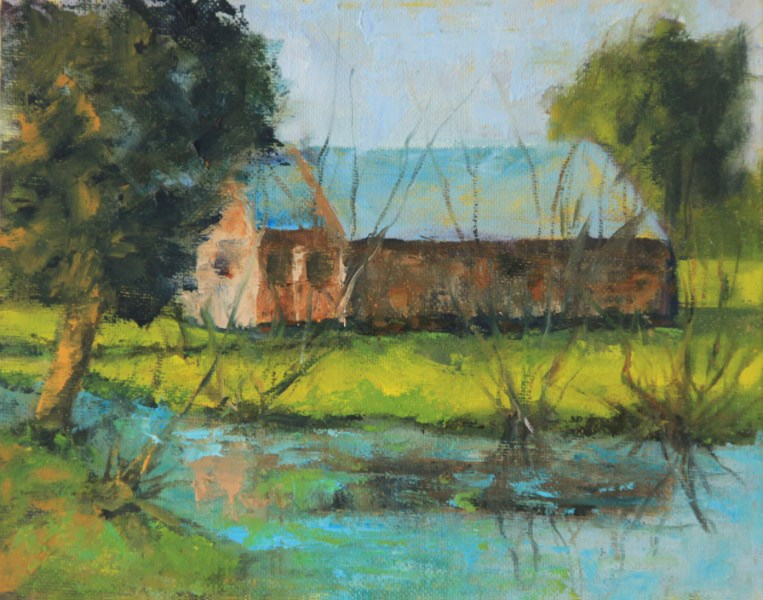 """House on the Pond"" original fine art by Kathy Collins"