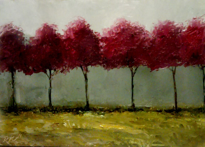 """Six Red Trees"" original fine art by Bob Kimball"