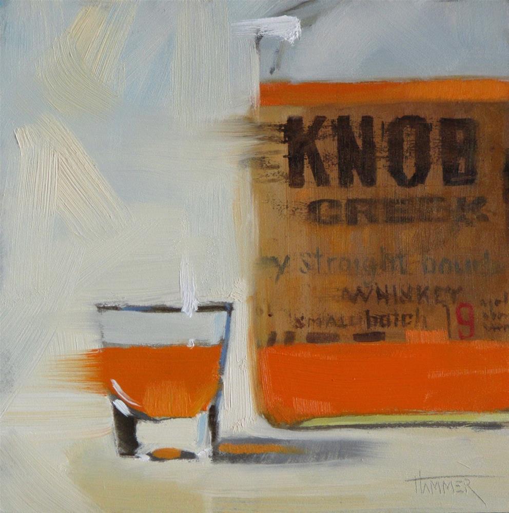 """Knob Creek Straight 6in x 6in  oil"" original fine art by Claudia Hammer"