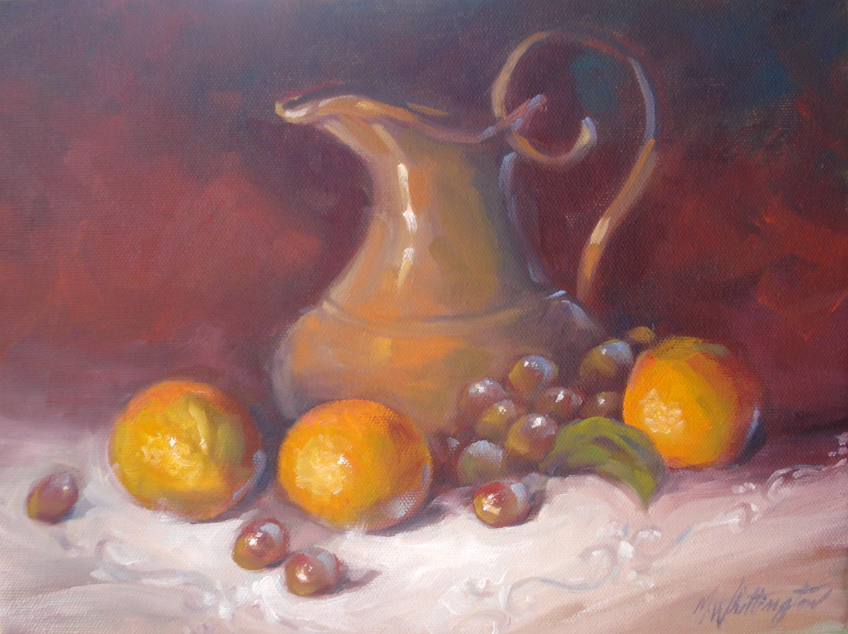 """Pitcher with Fruit"" original fine art by Margie Whittington"
