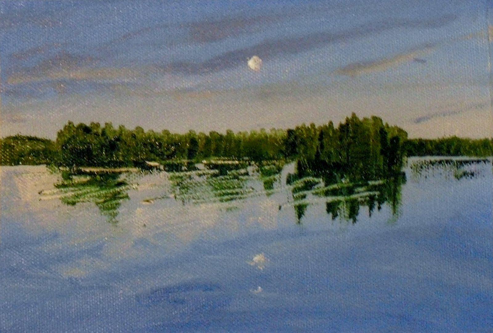 """Moon over Maine"" original fine art by Vincenza Harrity"