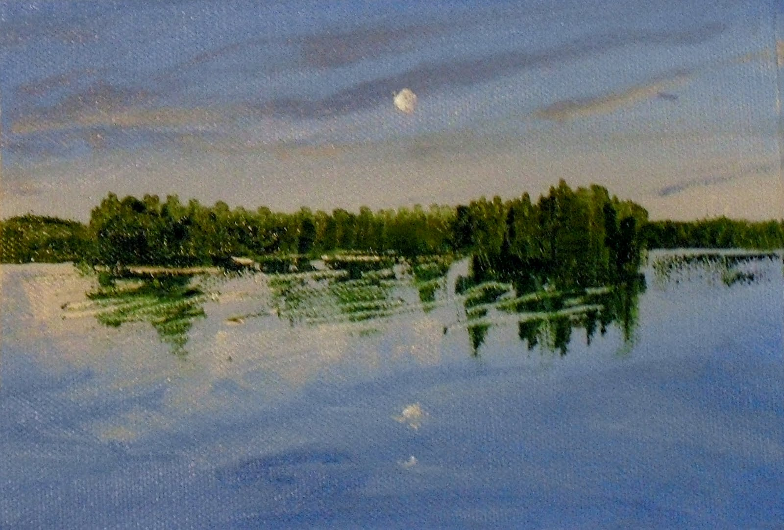 Moon over Maine original fine art by Vincenza Harrity