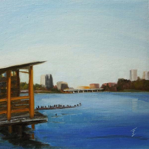 """View From The Boathouse"" original fine art by Jane Frederick"