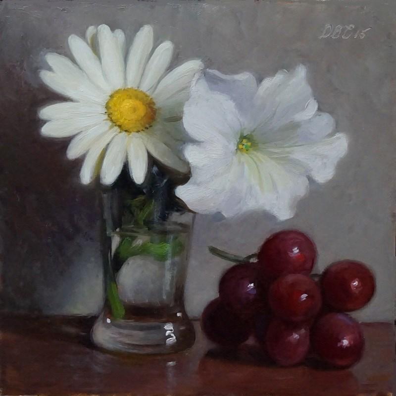 """Daisy, Petunia, and Grapes"" original fine art by Debra Becks Cooper"