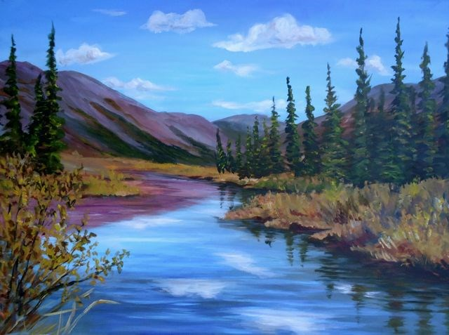 """Olgilvie River, Northen Yukon"" original fine art by Jackie Irvine"