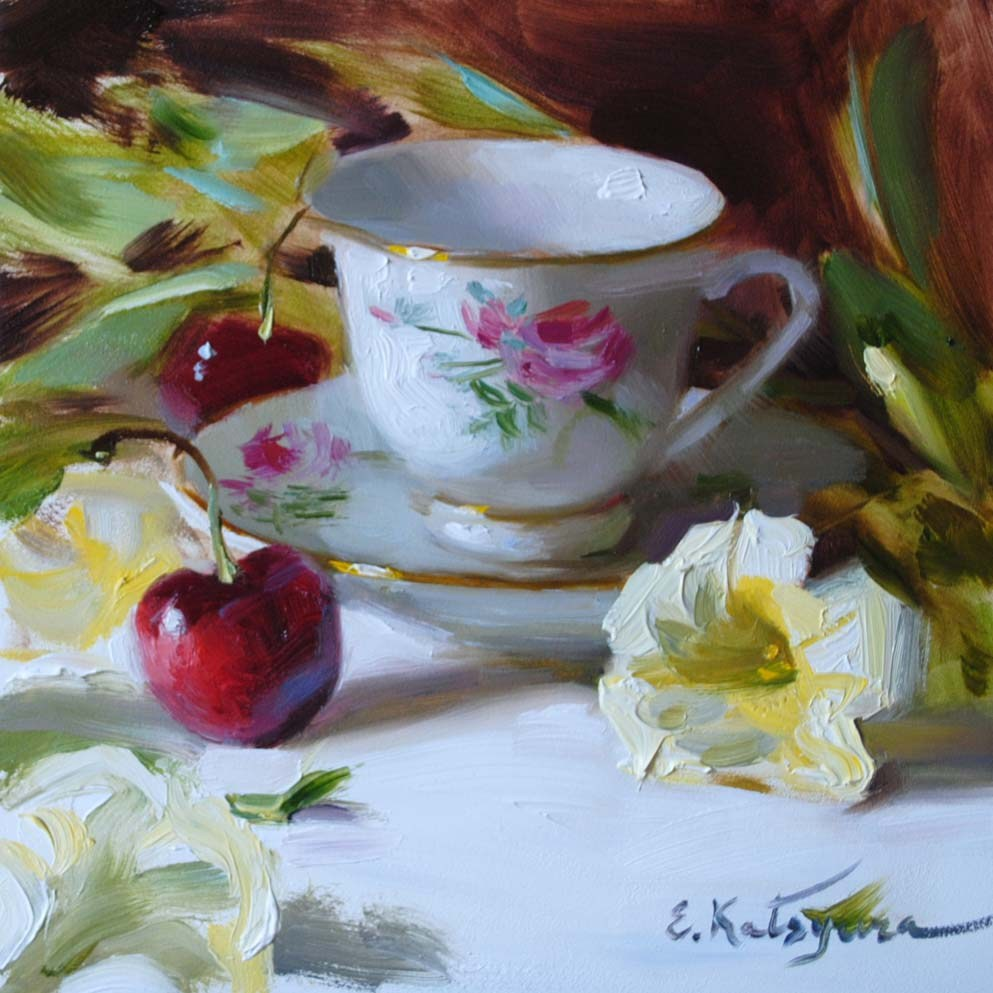"""Teacup, Petunias, and Cherries"" original fine art by Elena Katsyura"