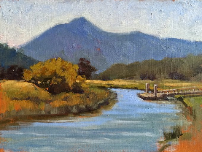 """Mt. Tam from Gallinas Creek"" original fine art by Deborah Newman"