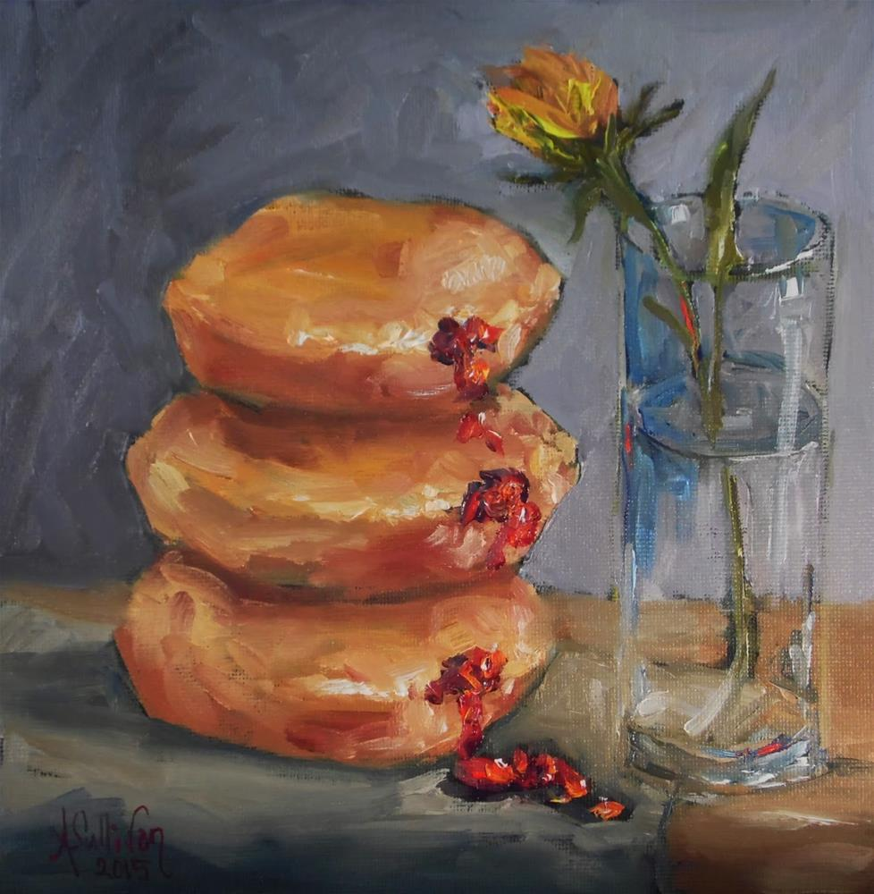 """Jelly Donuts still life painting by Alabama Artist Angela Sullivan"" original fine art by Angela Sullivan"