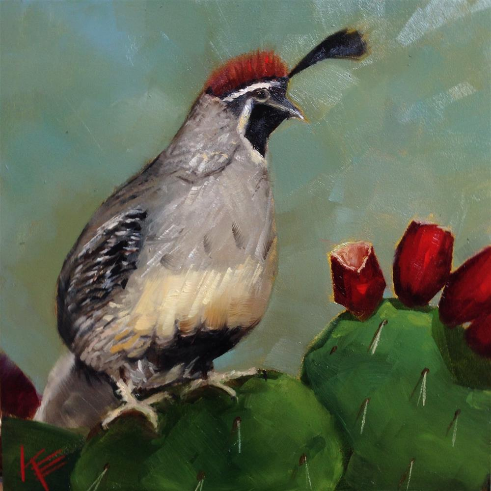 """Quail & Prickly Pear Cactus"" original fine art by Krista Eaton"
