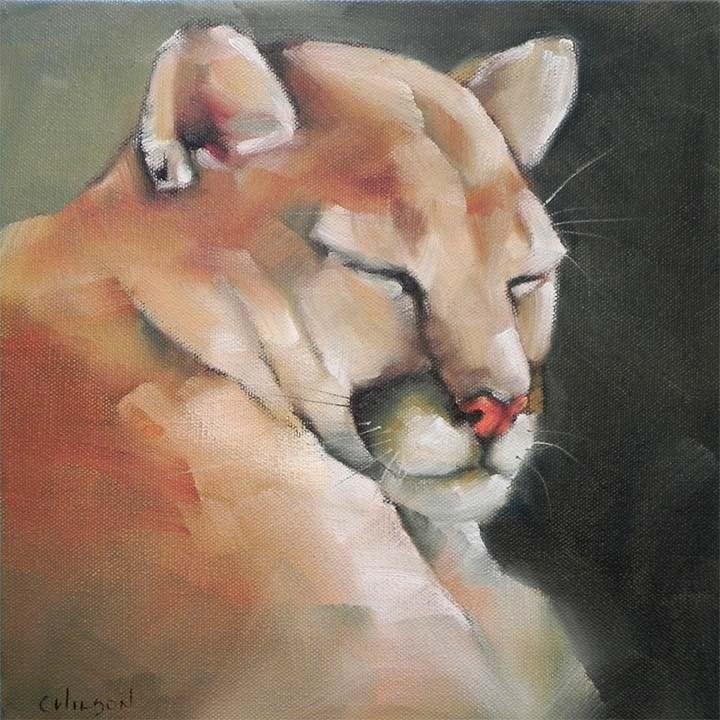 """""""Cat Nap"""" original fine art by Cheryl Wilson"""