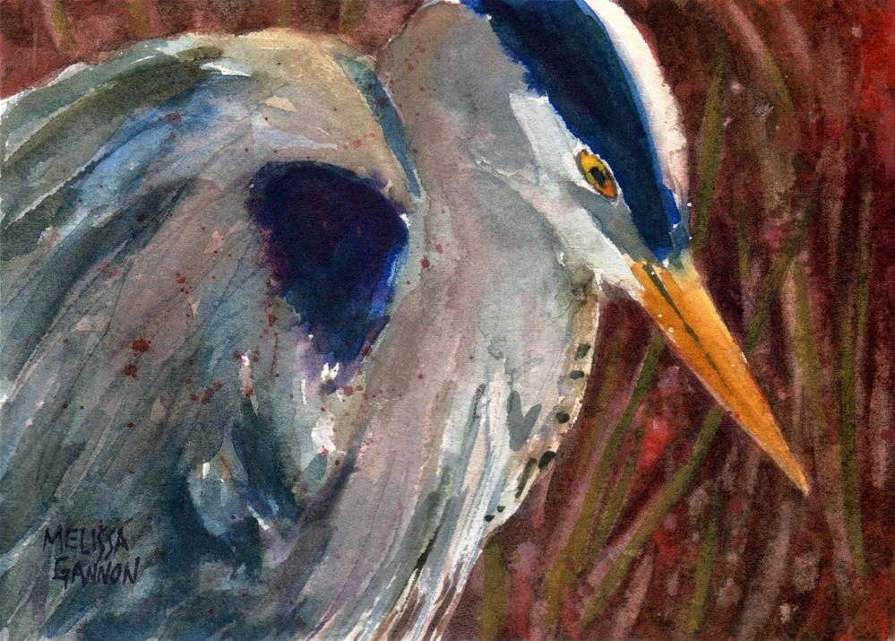 """Heron Close Up"" original fine art by Melissa Gannon"