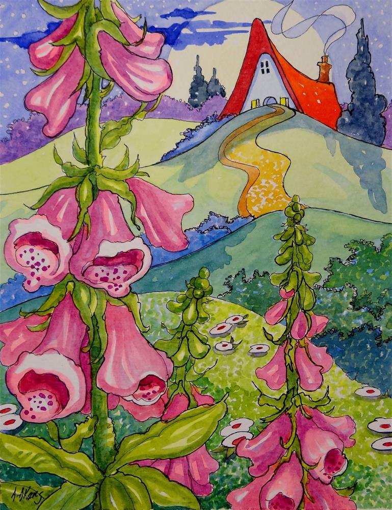 """Moonlit Foxgloves Storybook Cottage Series"" original fine art by Alida Akers"