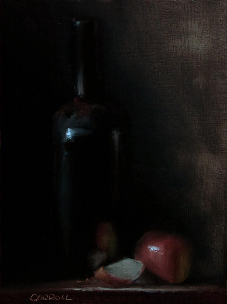 """Bottle with Sliced Apple"" original fine art by Neil Carroll"