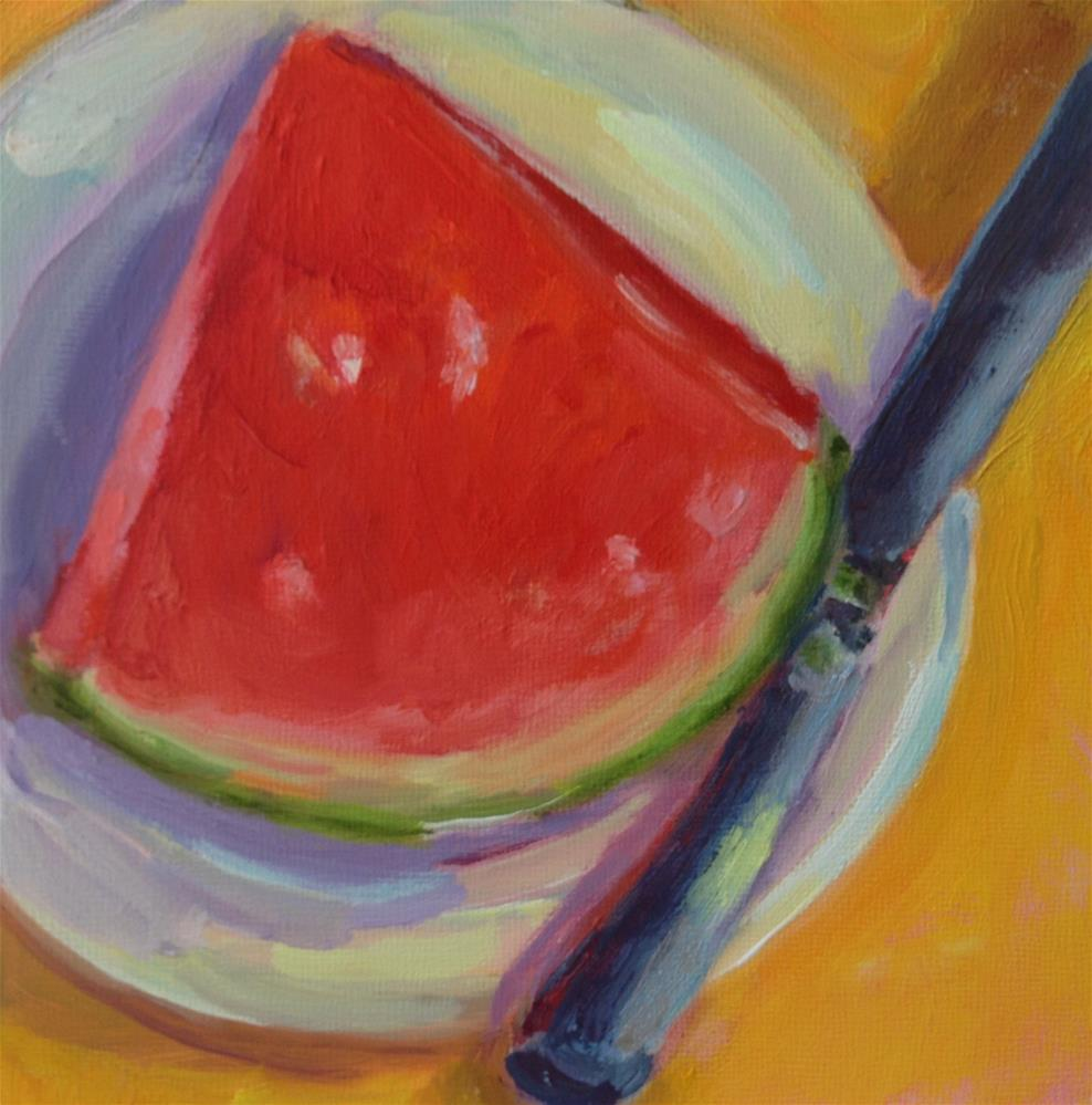 """Watermelon slice"" original fine art by Marcia Bergtholdt"