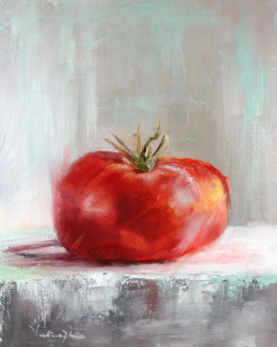 """The last tomato painting"" original fine art by Carrie Venezia"
