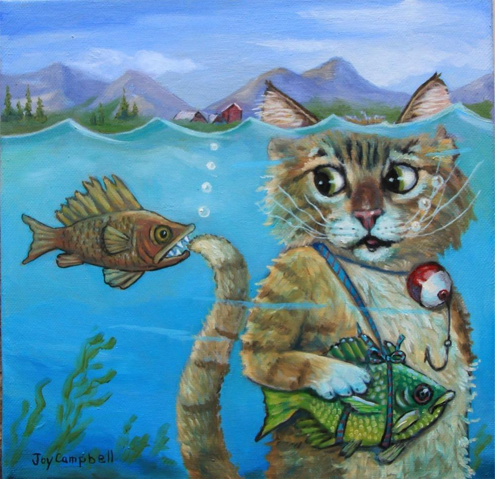 """The Dangers of Fishing Underwater"" original fine art by Joy Campbell"
