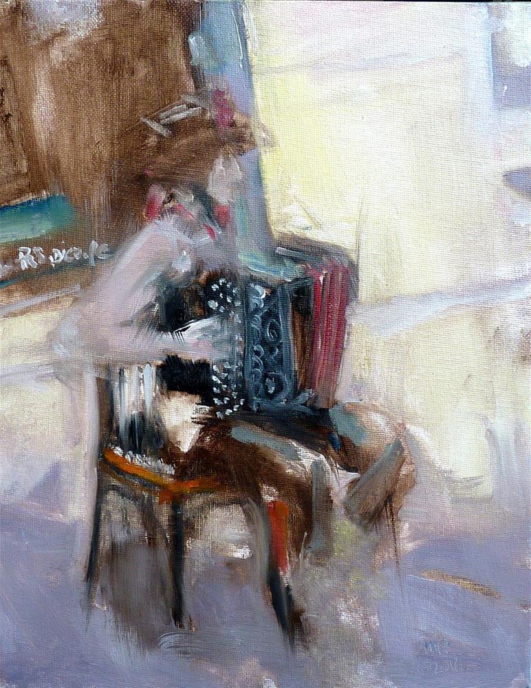 """Straßenmusiker in Paris / street musician in paris"" original fine art by Mila Plaickner"