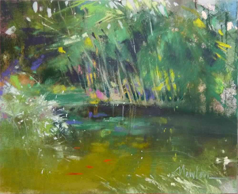 """Turning Point - color study for pond painting"" original fine art by Barbara Benedetti Newton"