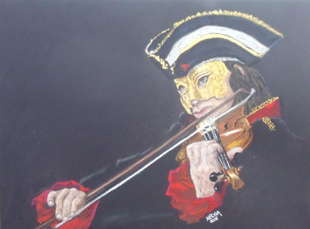 """The Venetian Violinist"" original fine art by Nelvia  McGrath"