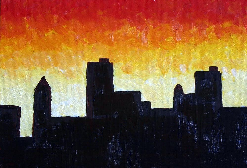 """CITY SUNSET"" original fine art by Bob Phillips"