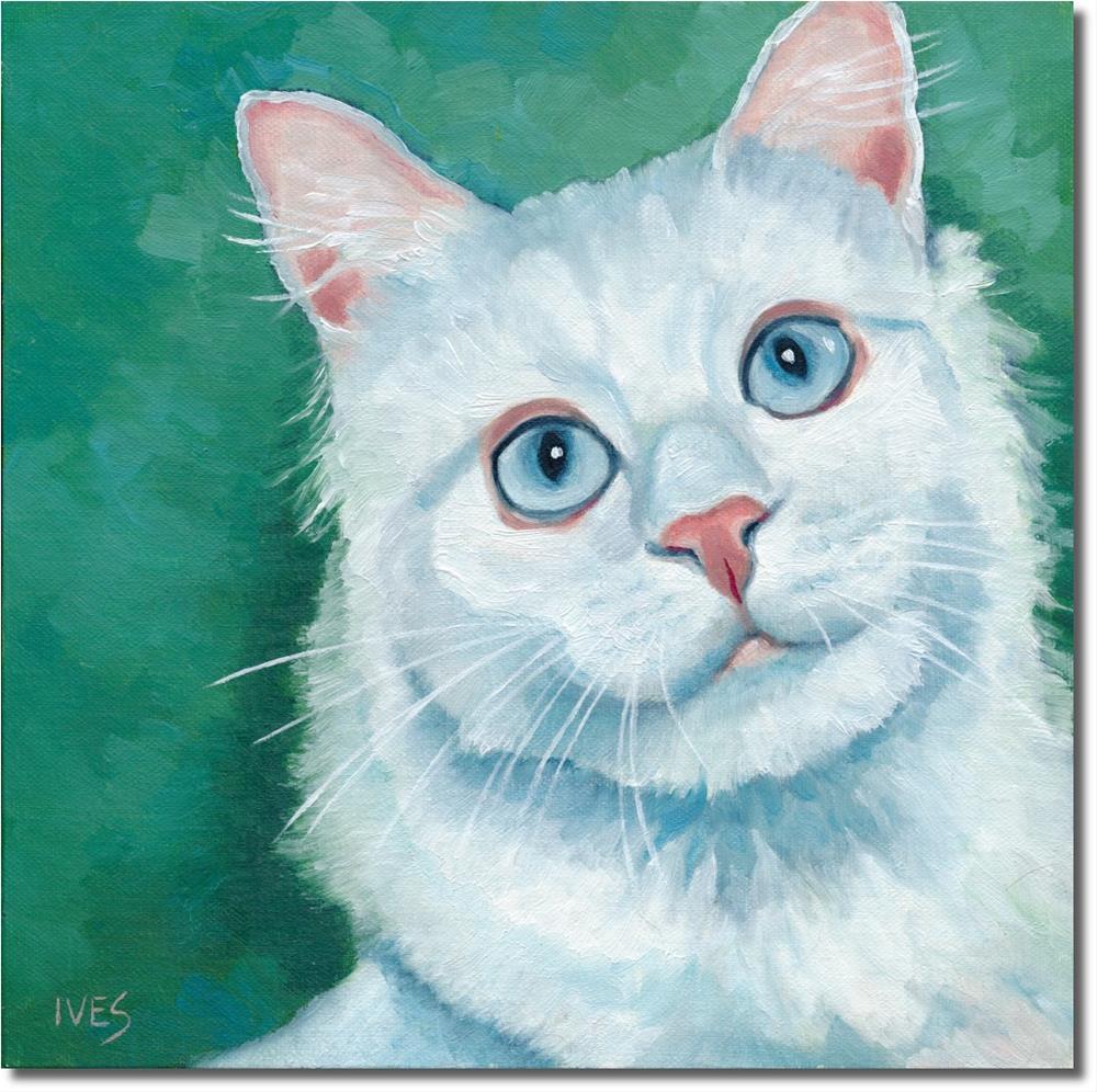 """Blue Eyes - White Cat"" original fine art by Rk Ives"