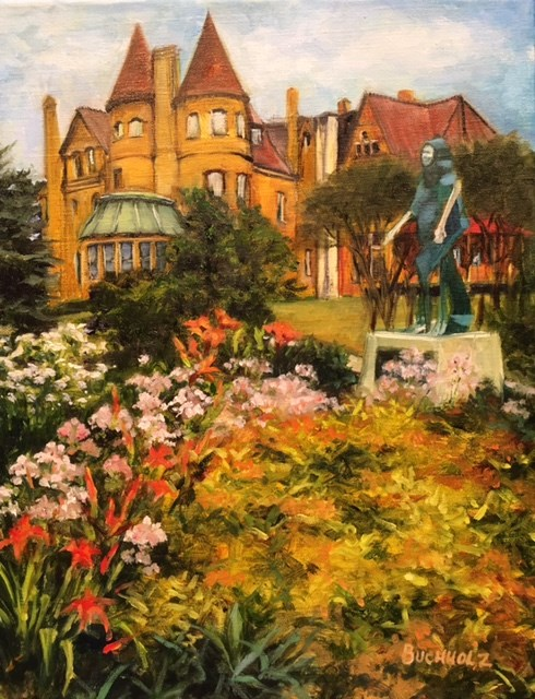 """""""The Bass Mansion and St.Francis Gardens in Spring"""" original fine art by Terri Buchholz"""