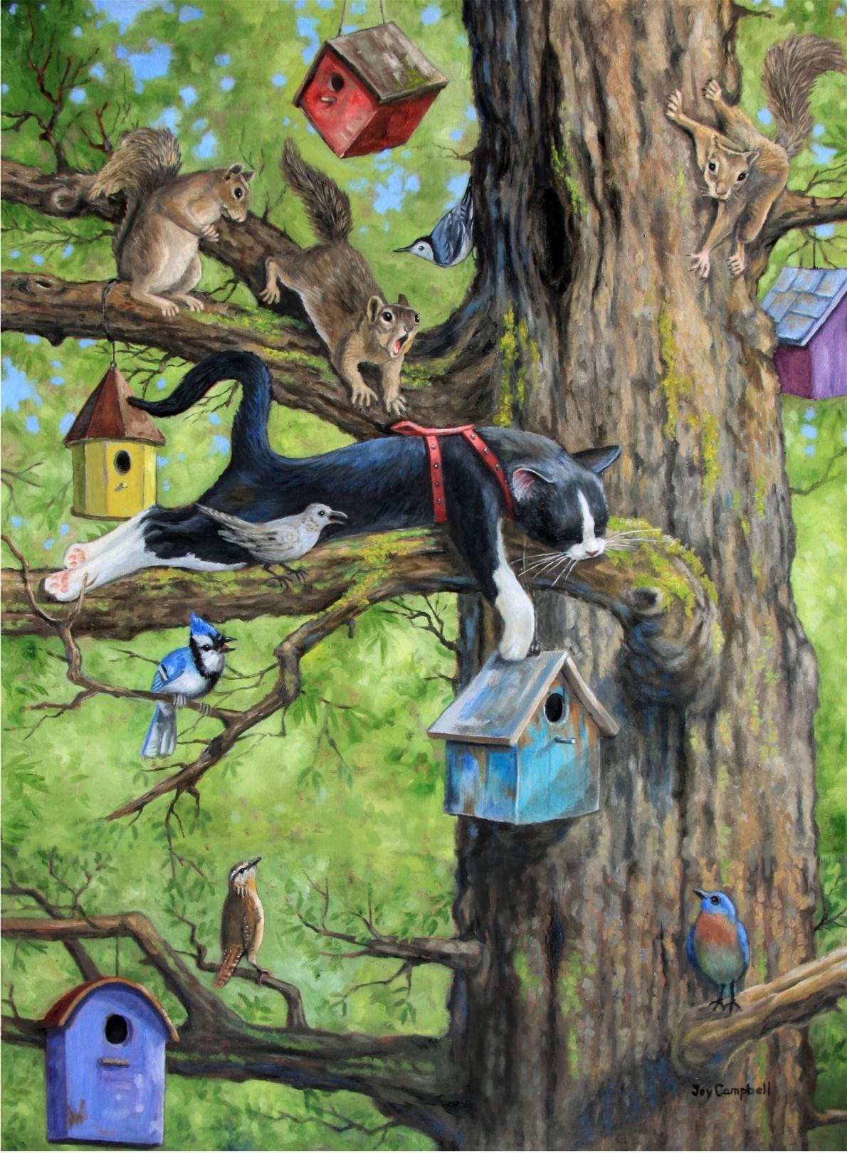 """Kitty Siesta"" original fine art by Joy Campbell"