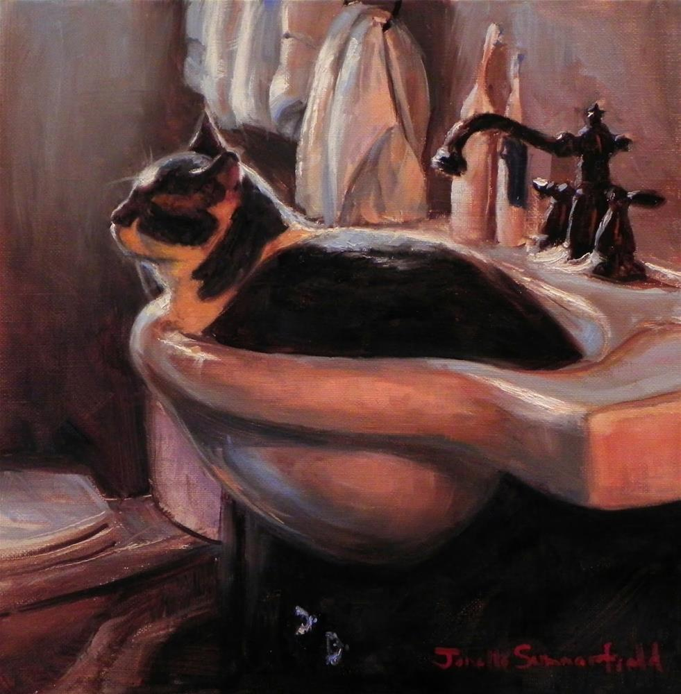 """Cat-Shaped Sink"" original fine art by Jonelle Summerfield"