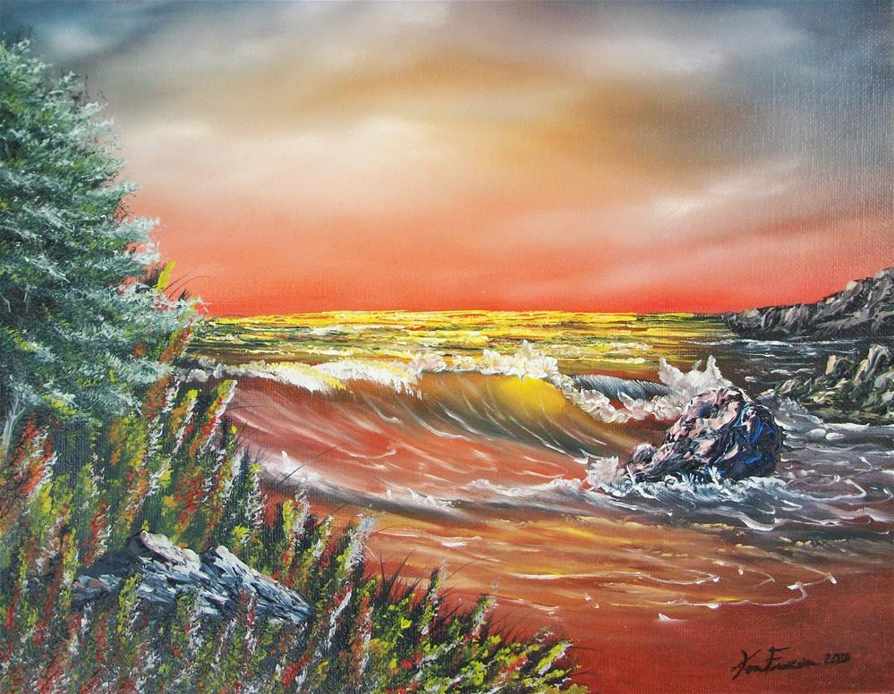 """Red Surf"" original fine art by Ken Fraser"