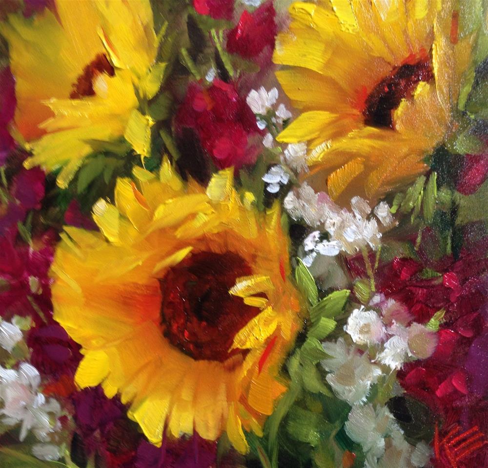 """Sunflowers & Stock"" original fine art by Krista Eaton"