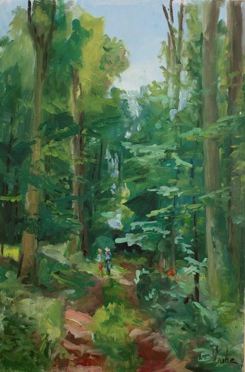 """""""Forêt le matin en été"""" original fine art by Evelyne Heimburger Evhe"""