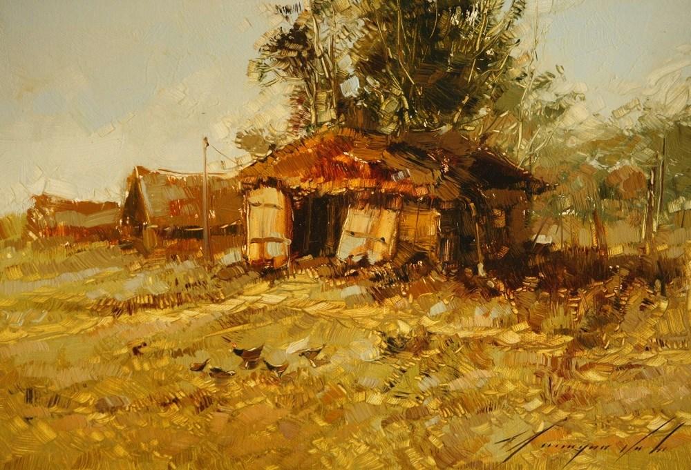 """""""FARM YARD ORIGINAL OIL PAINTING ON CANVAS ONE OF A KIND HANDMADE ART"""" original fine art by V Y"""