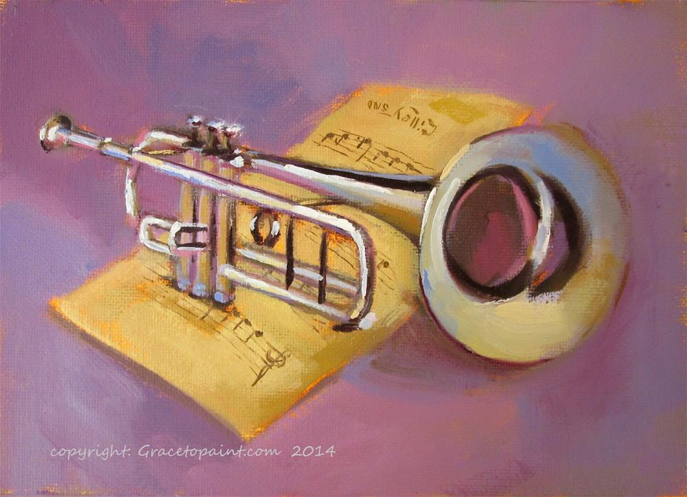 """Trumpet"" original fine art by Maresa Lilley"