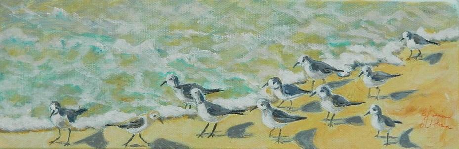 """Sand Pipers"" original fine art by Gloria Urban"