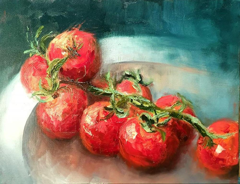 """Cherry tomatoes"" original fine art by Ronel Alberts"