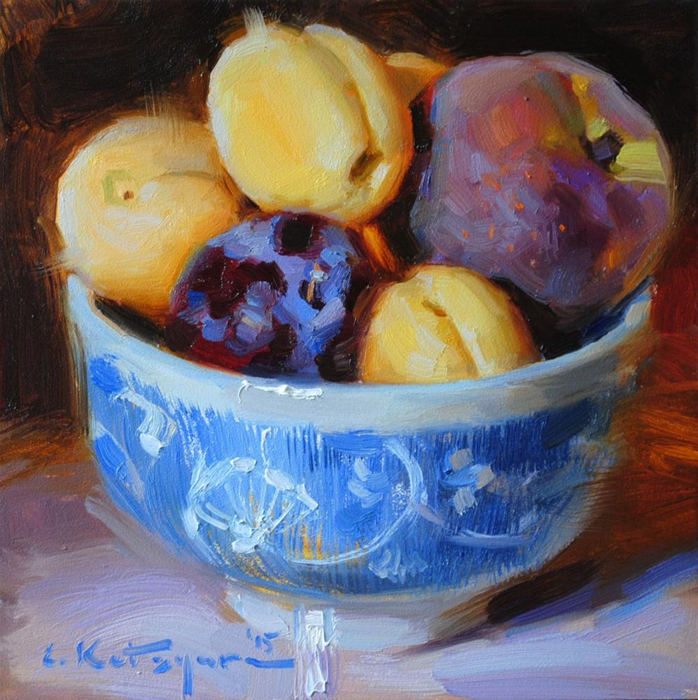"""Peach, Plum and Apricots"" original fine art by Elena Katsyura"