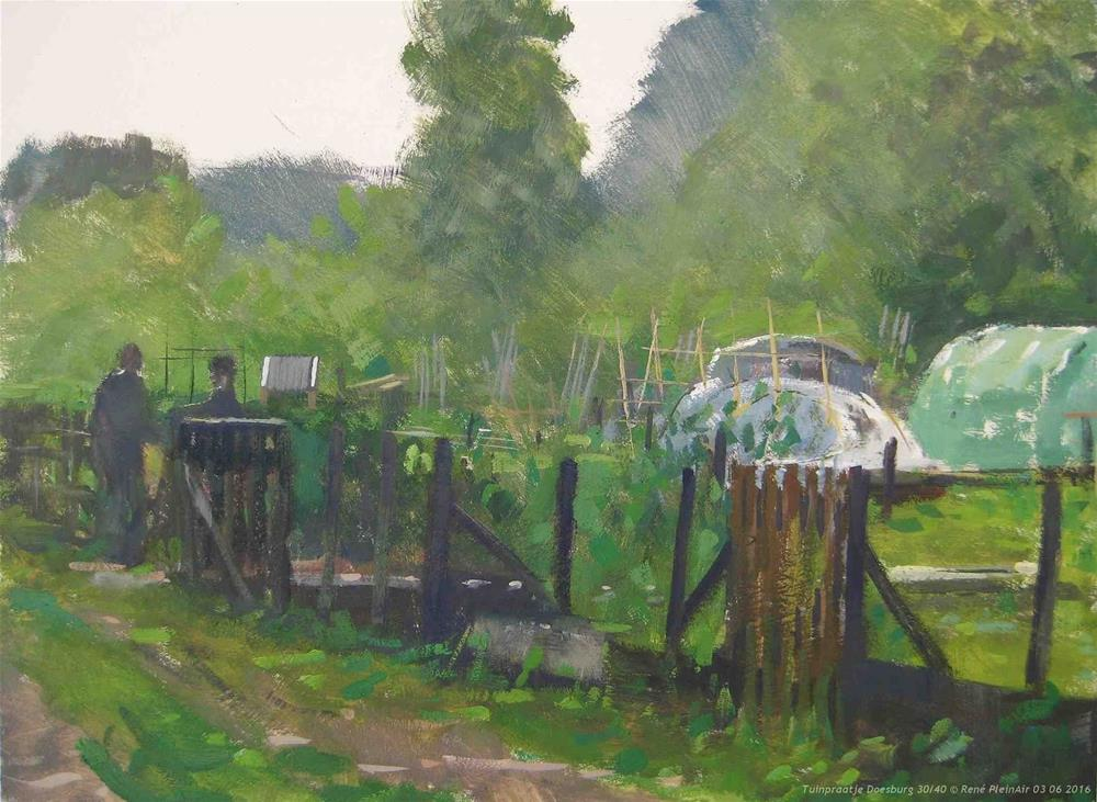 """Garden chat Doesburg, The Netherlands"" original fine art by René PleinAir"