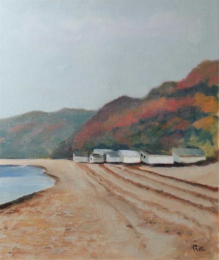 """""""Autumn Beach"""" original fine art by Maria Reed"""