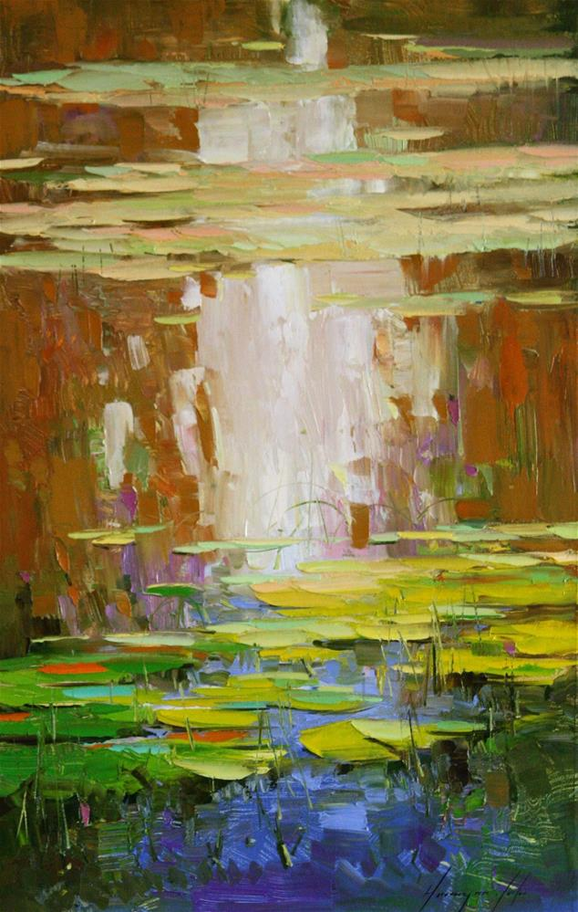 """WATERLILIES OIL ON CANVAS PALETTE KNIFE"" original fine art by V Y"