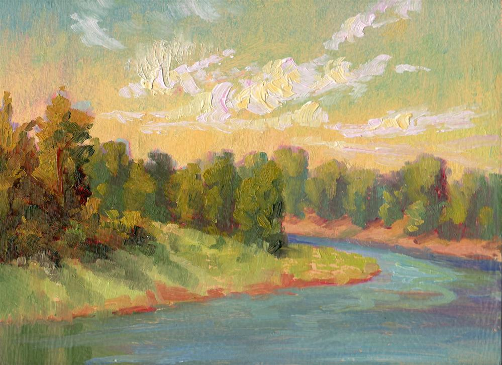 """COTTONWOOD-LINED RIVER"" original fine art by Karen E Lewis"