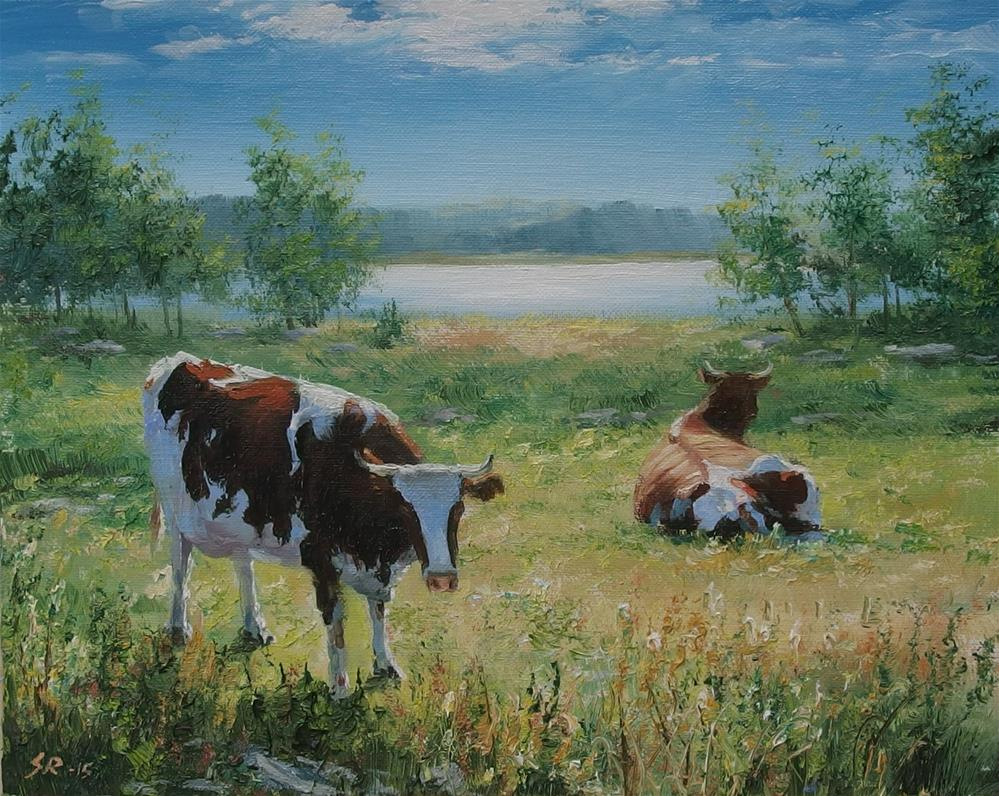 """Cows on the field"" original fine art by Stig Rosenlund"