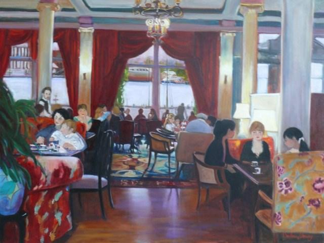 """944 Tea Room Drama, oil on canvas, 36x48"" original fine art by Darlene Young"