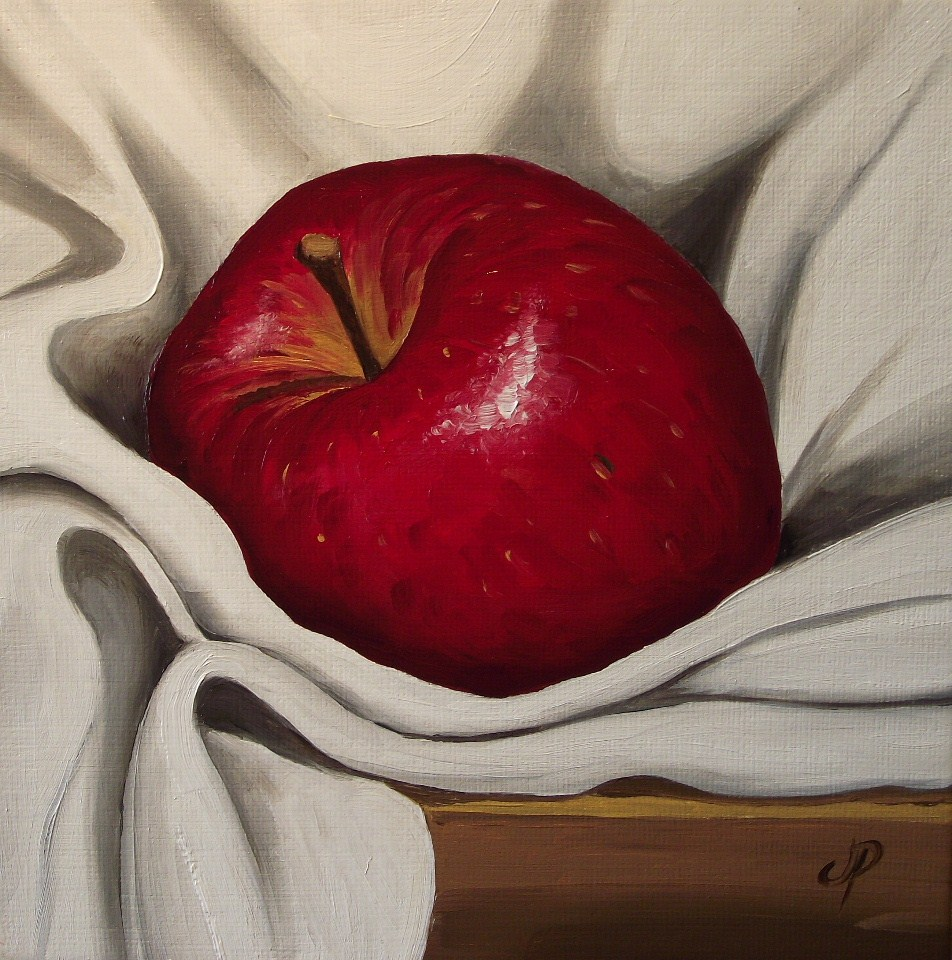 """Red Apple on cloth"" original fine art by Jane Palmer"