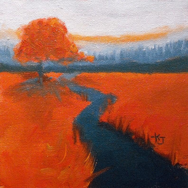 """#16 Lone Oak, Embers and Charcoal"" original fine art by Kathy Johnson"