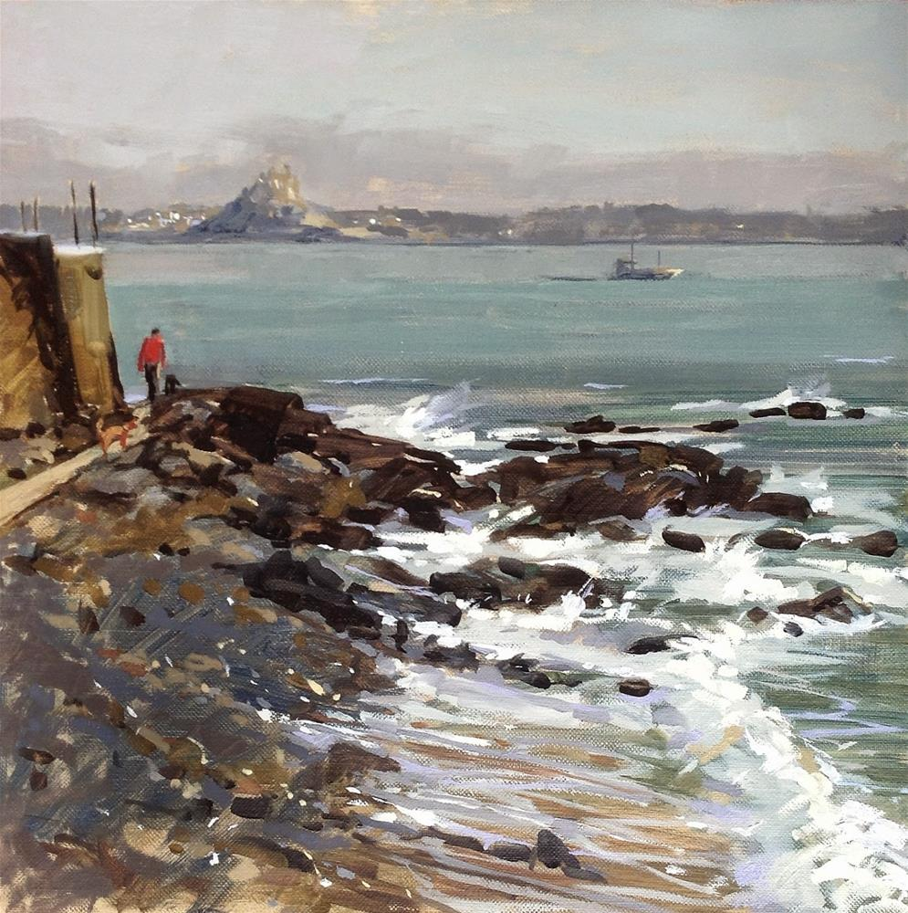 """Towards St Michael's mount from Mousehole"" original fine art by Haidee-Jo Summers ROI"