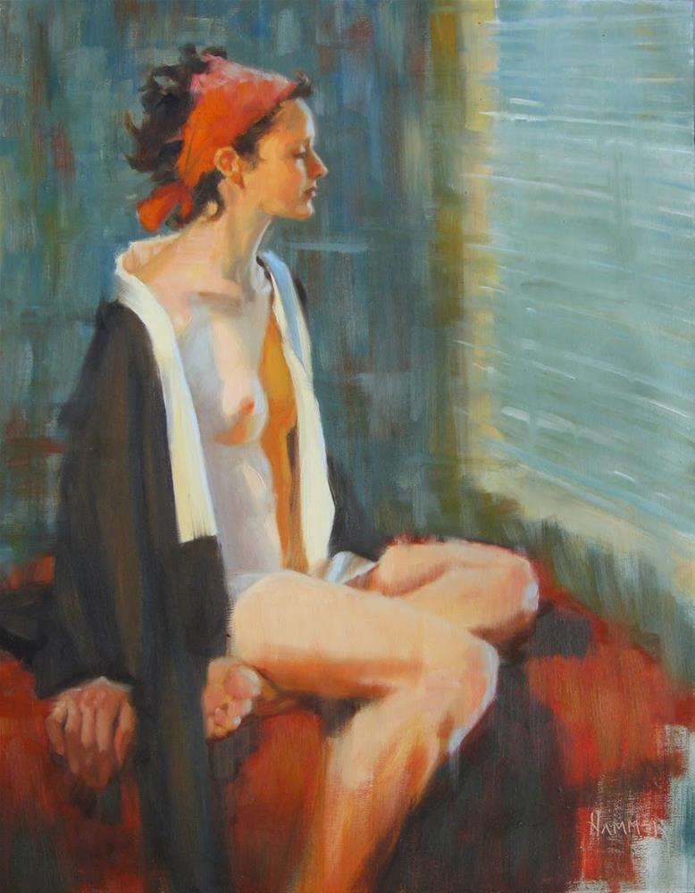 """Orange bandanna 14 x 18 oil"" original fine art by Claudia Hammer"