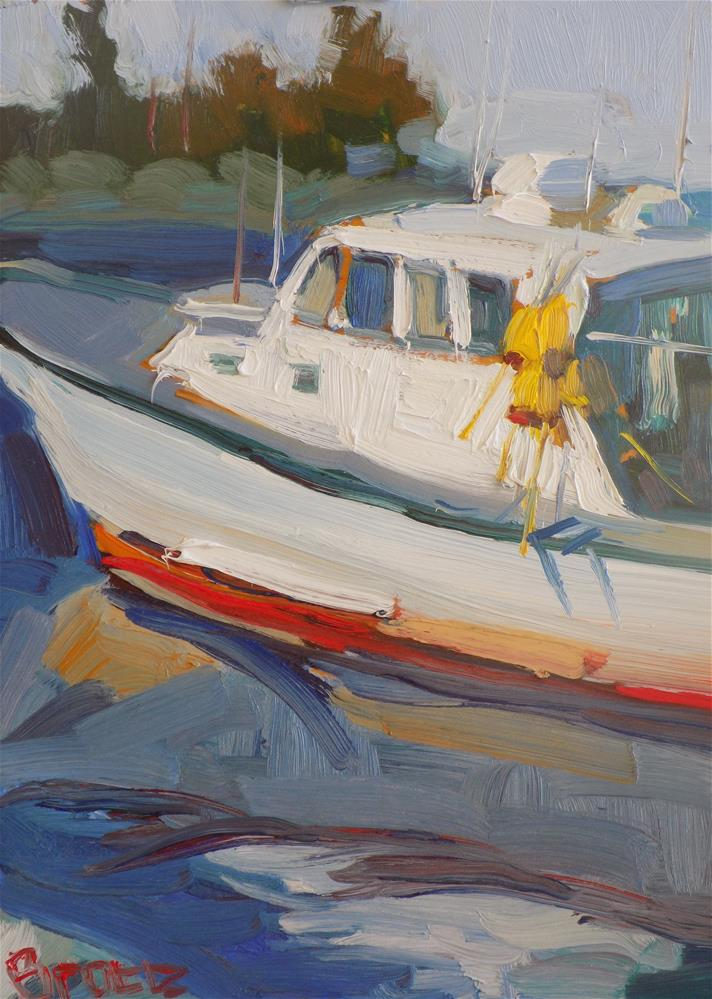 """Up Close Fishing Boat"" original fine art by Rita Brace"