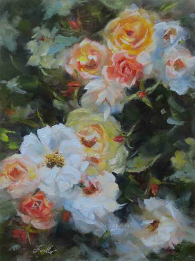 """Cascading Roses-revised"" original fine art by Pat Fiorello"